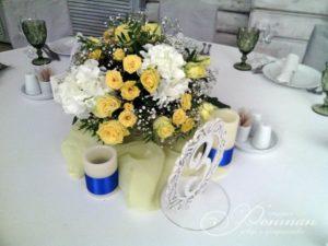 желтые цветы на свадебный стол фото